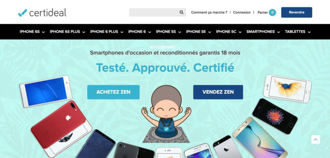 Capture d'écran du site Certideal